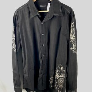 7 Diamonds black graphic button down Size XXL